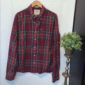 Abercrombie plaid shirt button down red green xl